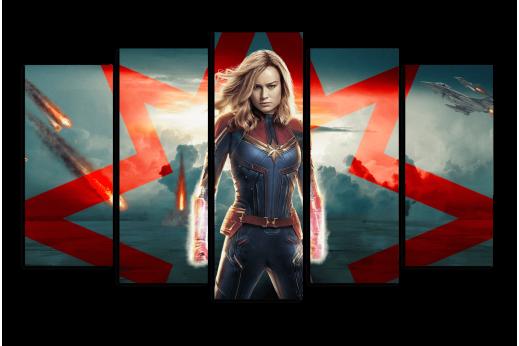 Модульная картина Капитан Марвел